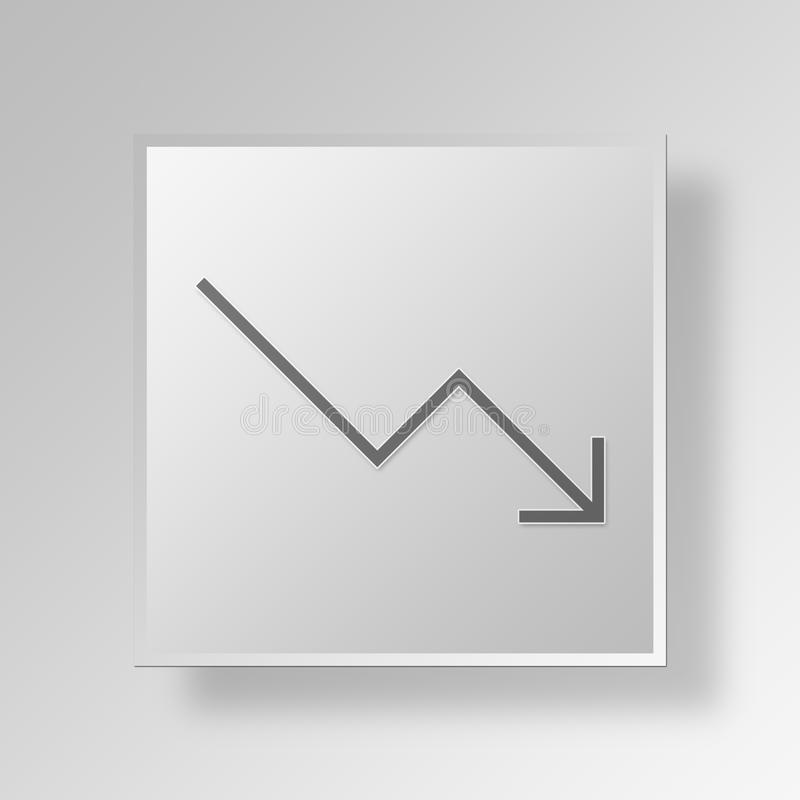 3D down trending icon Business Concept stock illustration