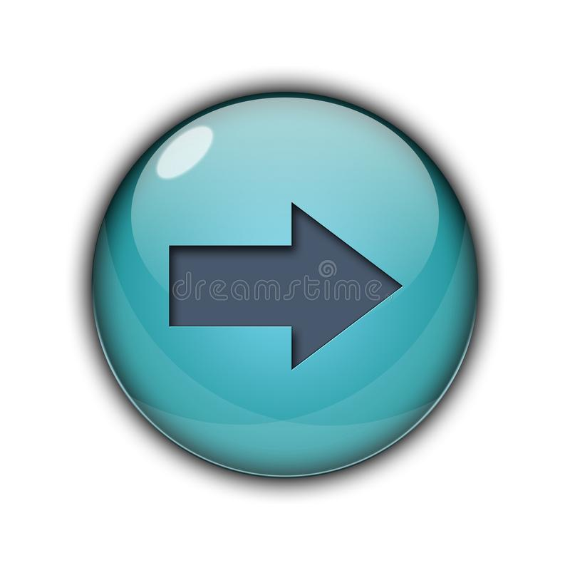 3D Button icon right arrow sky blue color stock image
