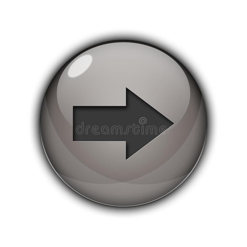 3D Button icon right arrow silver color royalty free stock image