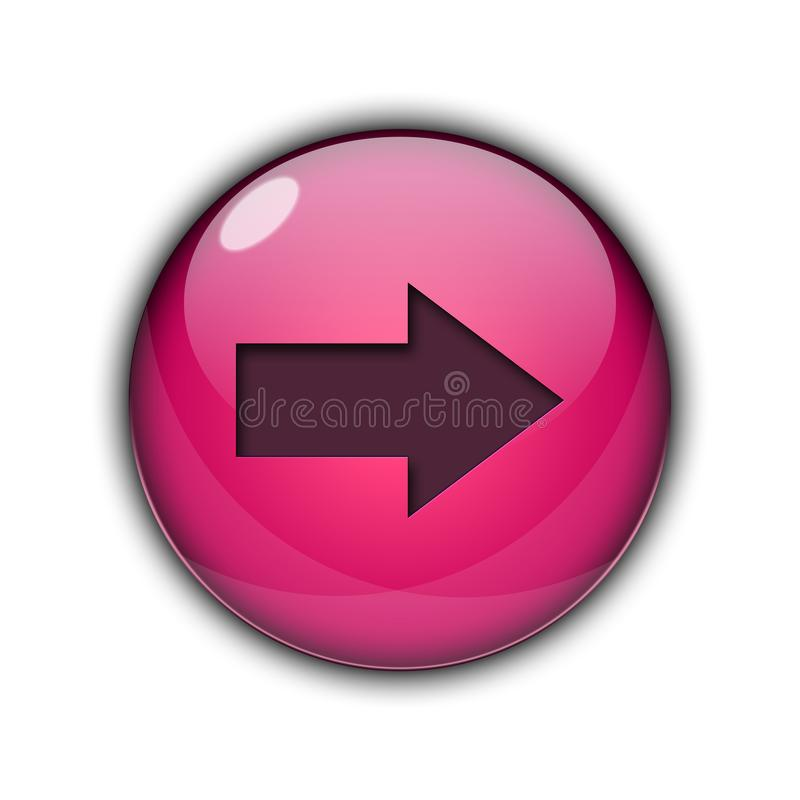 3D Button icon right arrow pink color stock image