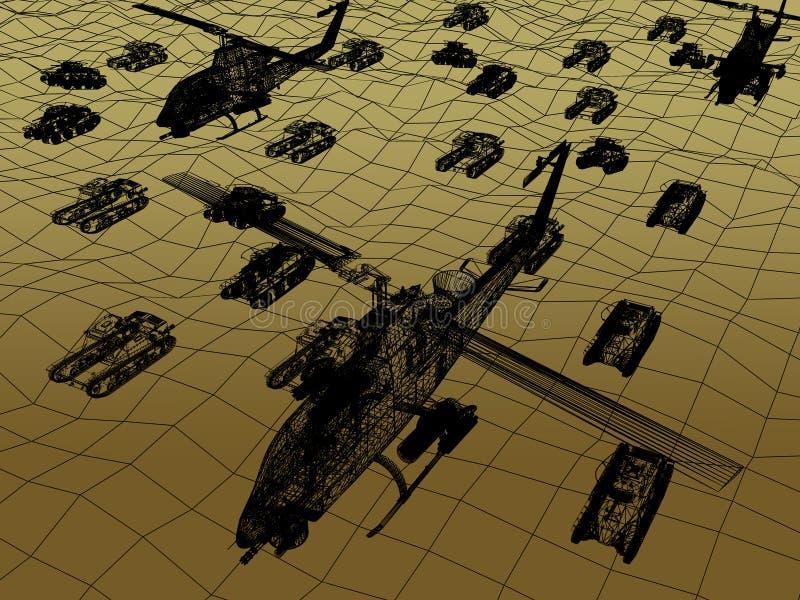 3d Draadkader van Helikopter met tank royalty-vrije illustratie
