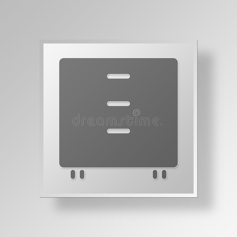 3D drawer icon Business Concept. 3D Symbol Gray Square drawer icon Business Concept vector illustration