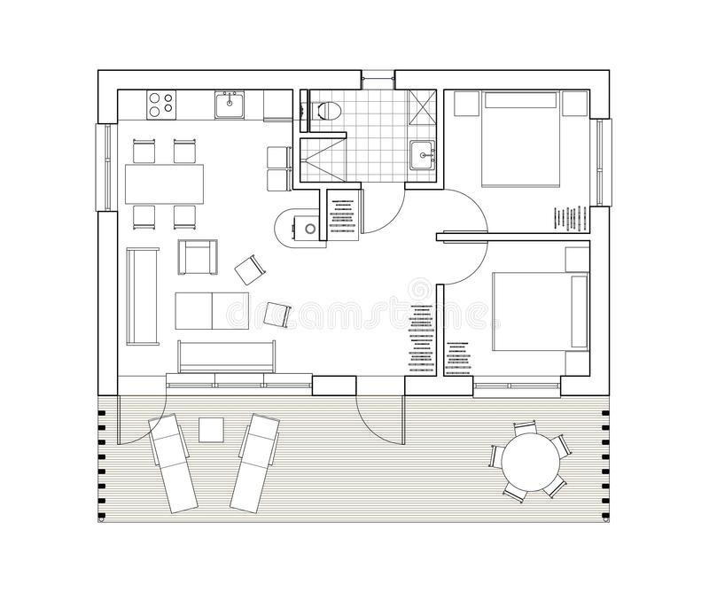 2D drawing - isolated floor plan of the single family house. Architectural drawing. Ground floor plan of the modern single family house or bungalow. Bungalow royalty free illustration