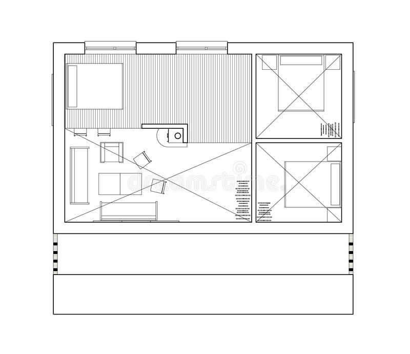 2D drawing - isolated floor plan of the single family house. Architectural drawing. 2nd floor plan of the modern single family house or bungalow. Bungalow with stock illustration