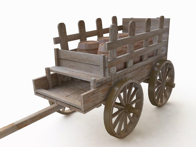 3D Drewniana fura z baryłkami ilustracja wektor