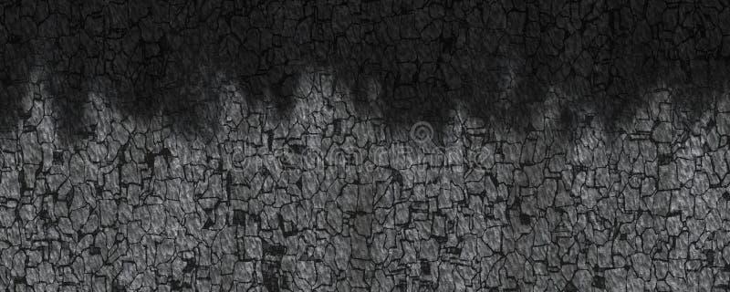 3d drewnianego węgla drzewnego ilustracja paląca tekstura ilustracji
