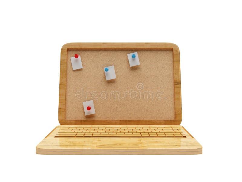 3D Drewniany laptop zdjęcie royalty free