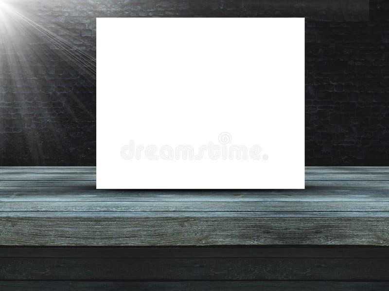 3D drewniany stół przeciw starej grunge ścianie z cegieł z pustą kanwą ilustracji
