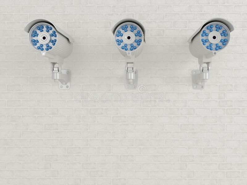 3d Drie toezichtcamera op bakstenen muur royalty-vrije illustratie