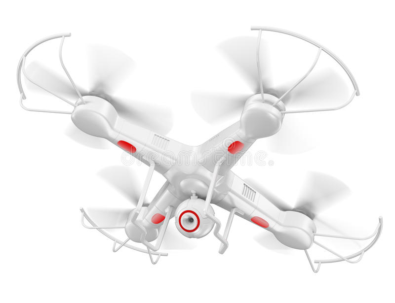 3D drone with camera. 3d white drone with camera. Isolated white background