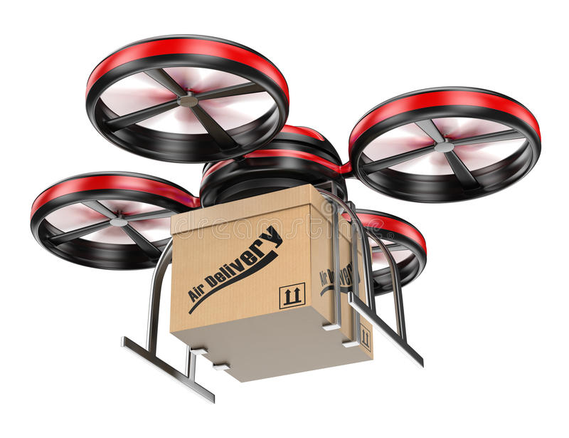 Download 3D Drone Delivering A Package Stock Illustration