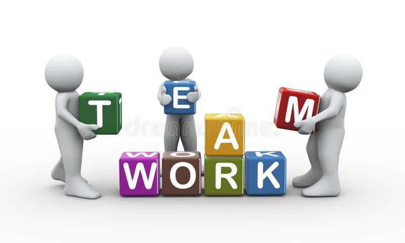 3d drużyny pracy sześcianów ludzie ilustracja wektor