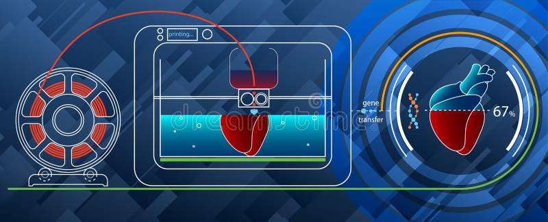 3D druk een menselijk hart op een 3D printer voor DNA royalty-vrije illustratie