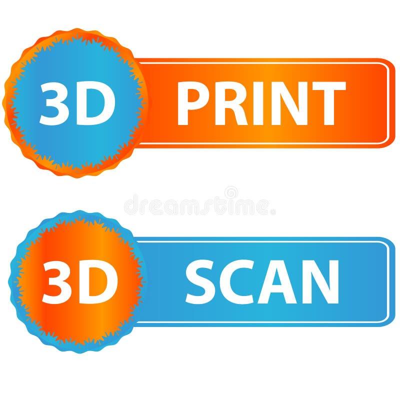 3d druk en aftastenpictogrammen vector illustratie
