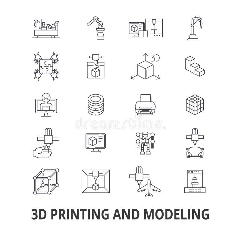 3d druk verwante pictogrammen vector illustratie