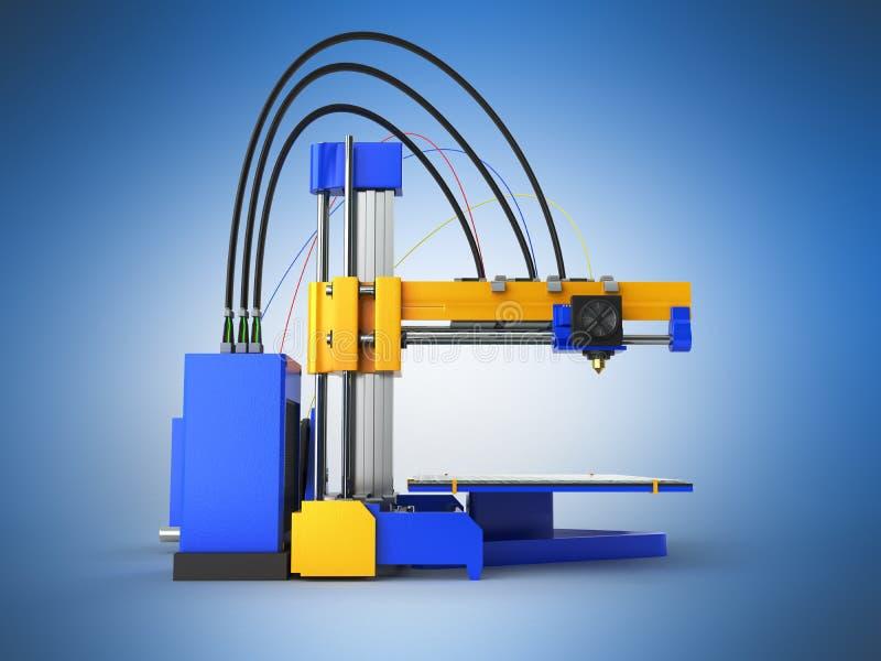 3d drukarka na dobrze 3d odpłacają się na błękitnym tle ilustracja wektor