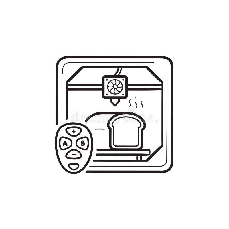 3D drukarka robi chlebowej ręce rysującej zarysowywać doodle ikonę ilustracja wektor
