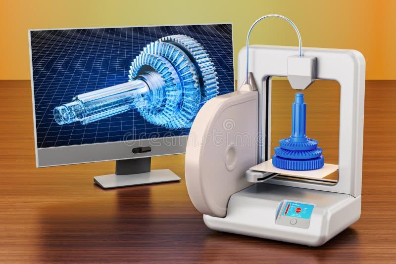 3d drukarka z komputerowym monitorem na drewnianym stole 3D renderi ilustracja wektor