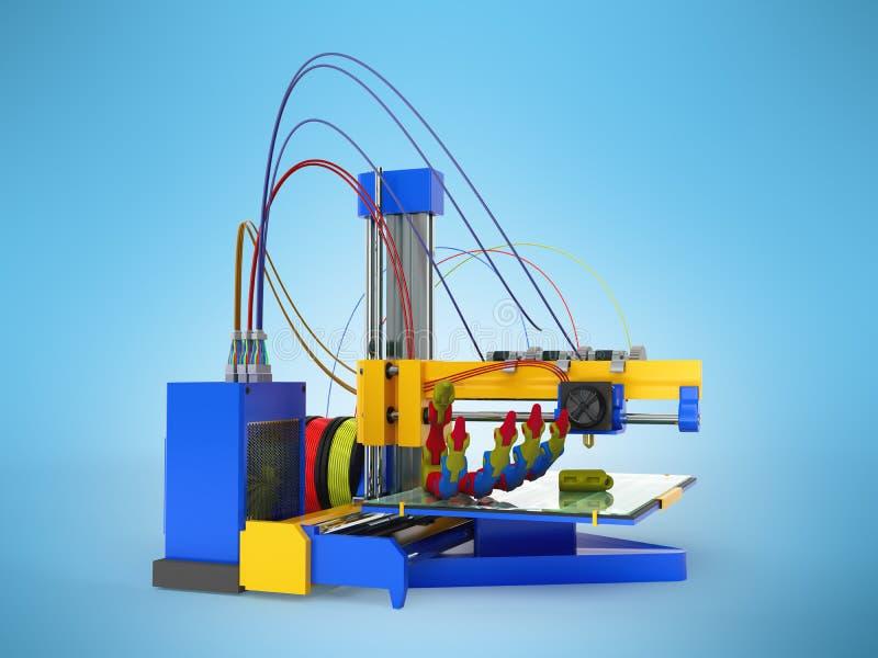 3d drukarki druku prosthesis 3D odpłaca się na błękitnym tle ilustracja wektor