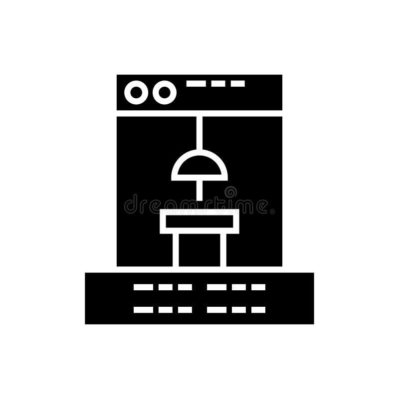 3d drukarki ikona, wektorowa ilustracja, czerń znak na odosobnionym tle ilustracja wektor
