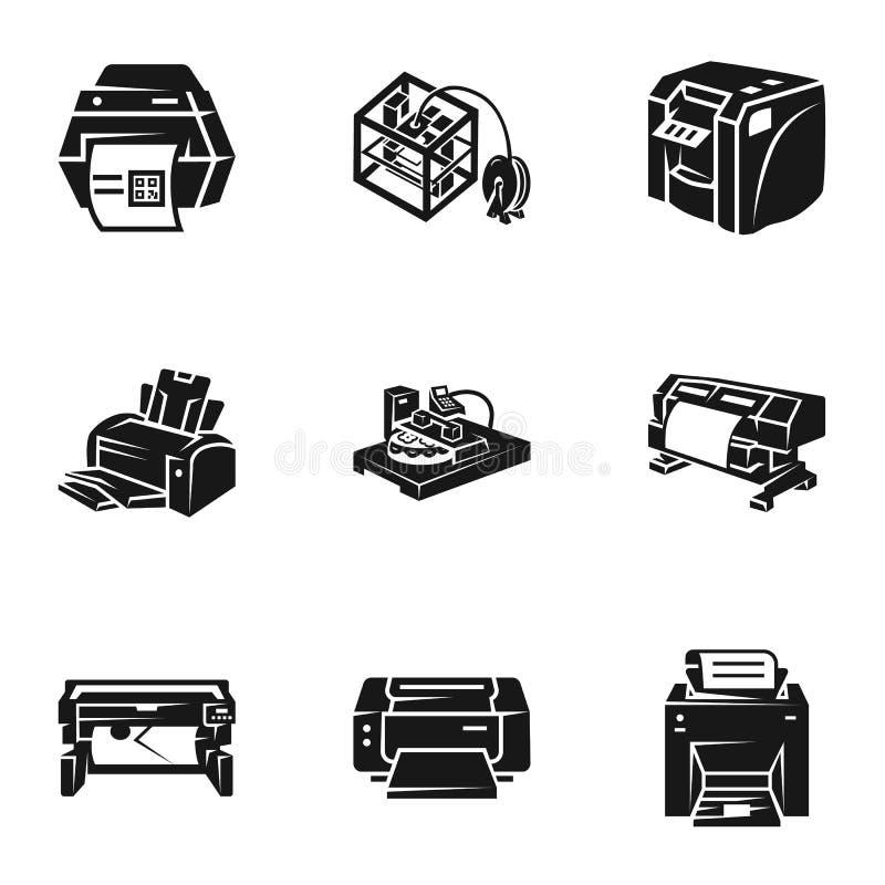 3d drukarki ikony set, prosty styl ilustracja wektor