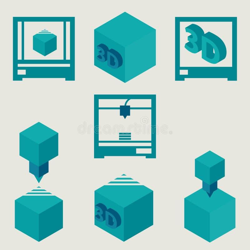 3D drukarki płaskie błękitne ikony ustawiać ilustracji
