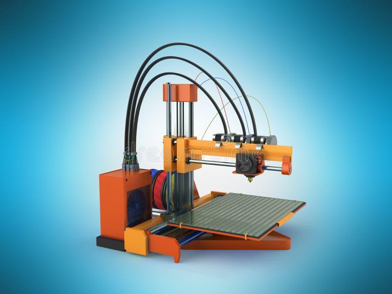 3d drukarki pomarańcze 3d czerwony rendering na błękitnym tle ilustracja wektor