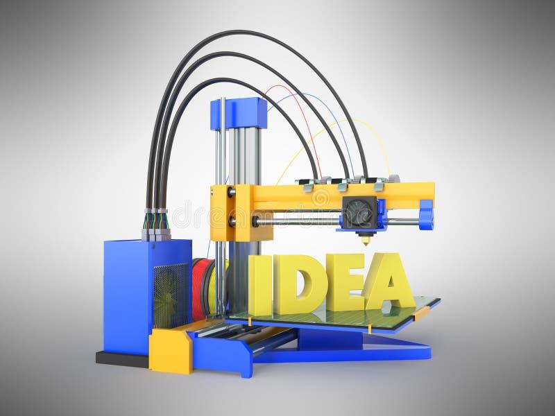 3d drukarki pomysłu przodu błękita 3d żółty rendering na szarym backgroun ilustracja wektor