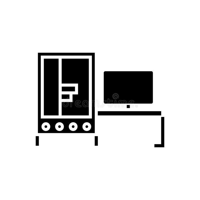 3d drukarki przemysłowa ikona, wektorowa ilustracja, czerń znak na odosobnionym tle royalty ilustracja
