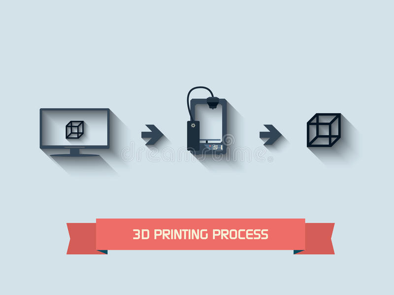 3D drukpictogrammen stock illustratie