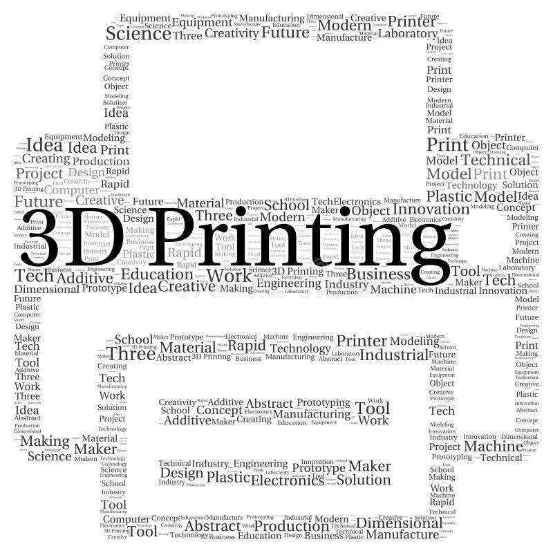 3D druku słowa chmury kształt ilustracji