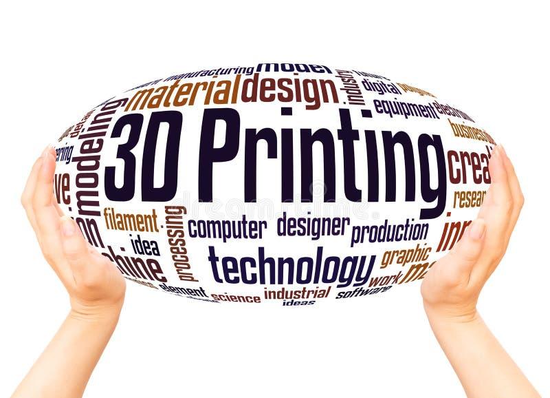 3D druku słowa chmury ręki sfery pojęcie ilustracja wektor