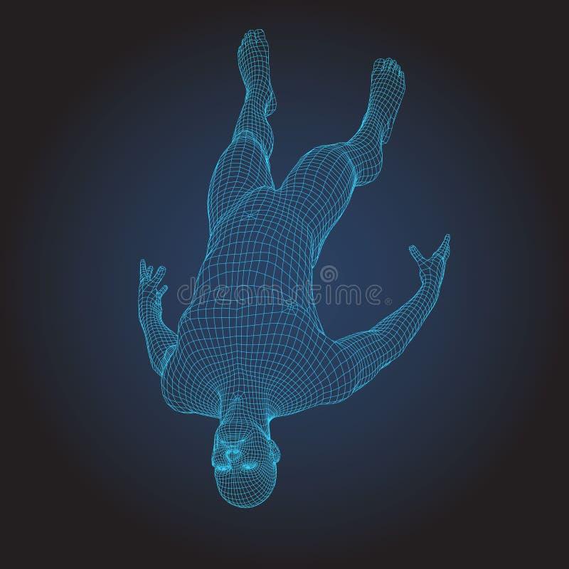 3D drutu ramy ciało ludzkie Skokowa spadek postać royalty ilustracja