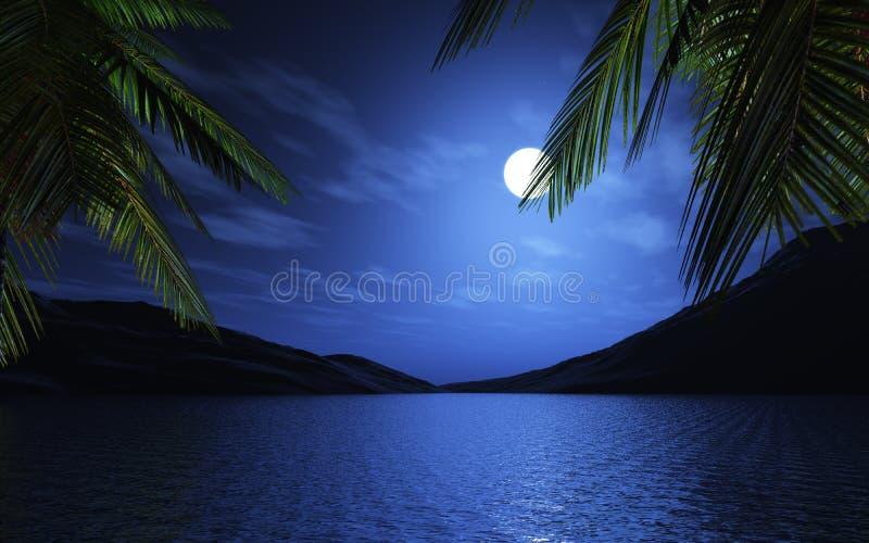 3D drzewka palmowe przy blaskiem księżyca ilustracji