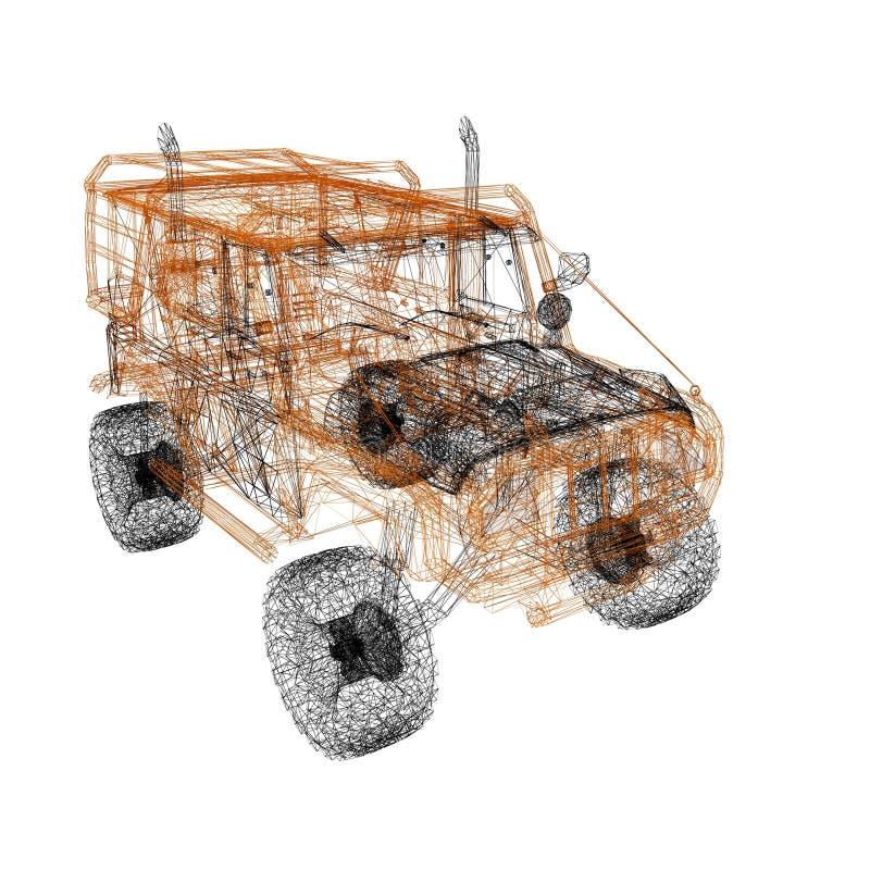 3d 3ds汽车做最大设计 皇族释放例证