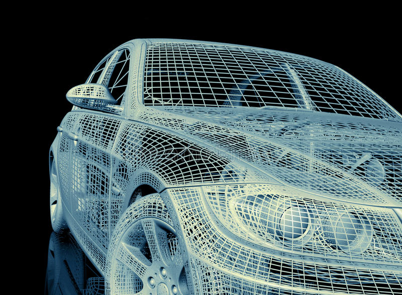 3d 3ds汽车做最大设计 库存例证