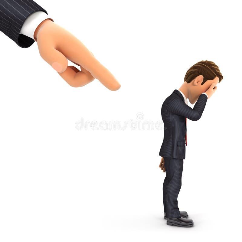 3d duża ręka wskazuje biznesmen ilustracji