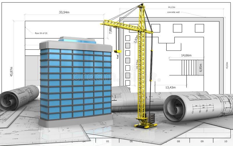 3d du bâtiment générique illustration libre de droits