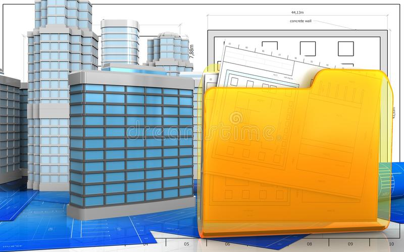3d du bâtiment générique illustration de vecteur