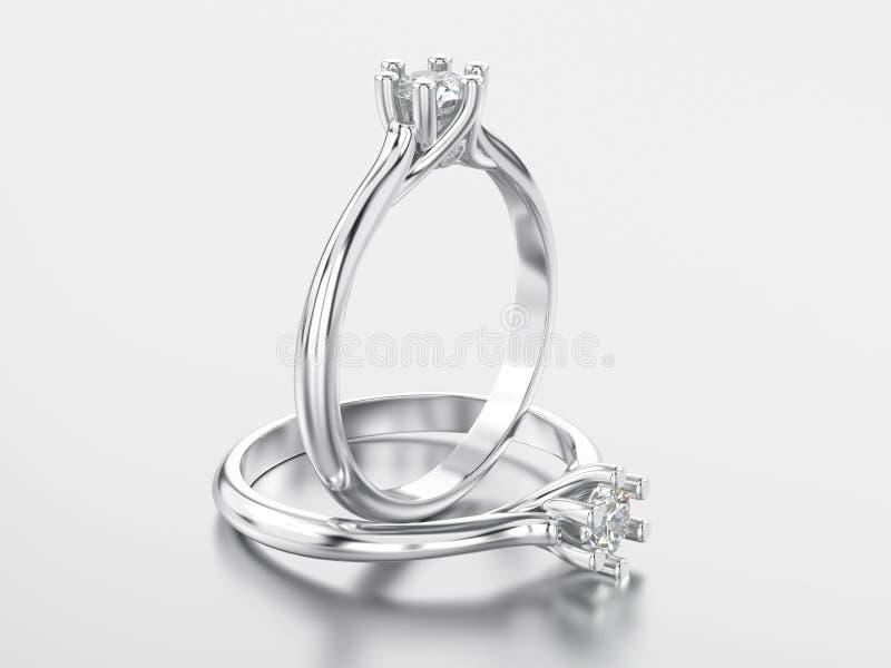 3D dwa ilustraci biały złoto lub srebro klasyka pierścionek z diamo royalty ilustracja