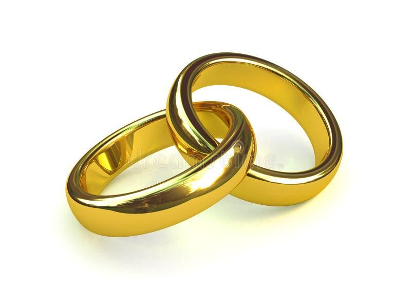 3d Dwa złociści pierścionki opleceni ilustracji