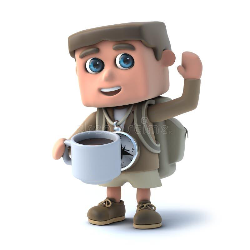 3d dzieciaka wycieczkowicz pije kawę ilustracji