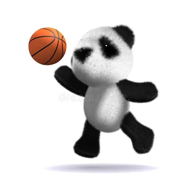 3d dziecka pandy niedźwiedź bawić się koszykówkę royalty ilustracja