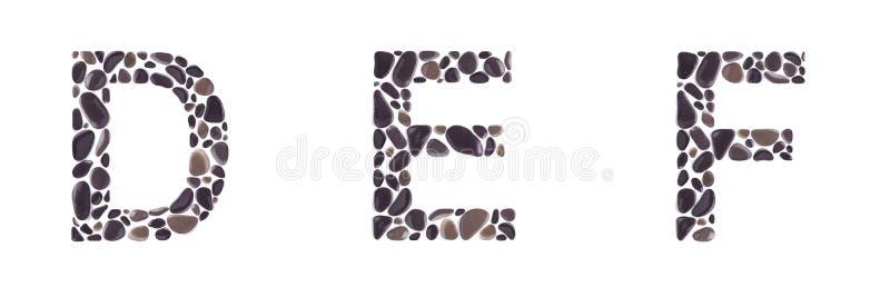 D-, e- und f-Buchstaben machten von den Steinen, die auf weißem Hintergrund lokalisiert wurden stockfotos
