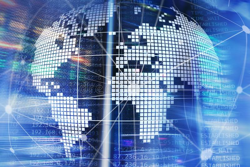 3D Earth as telecommunication and internet technology concept. royalty free stock images