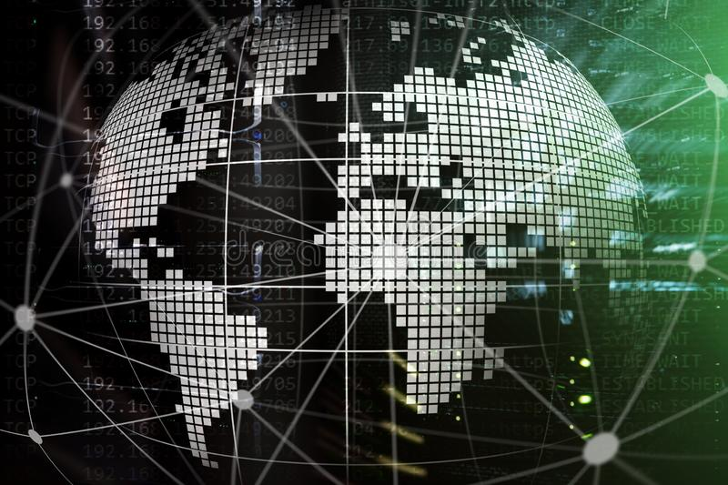 3D Earth as telecommunication and internet technology concept stock photo
