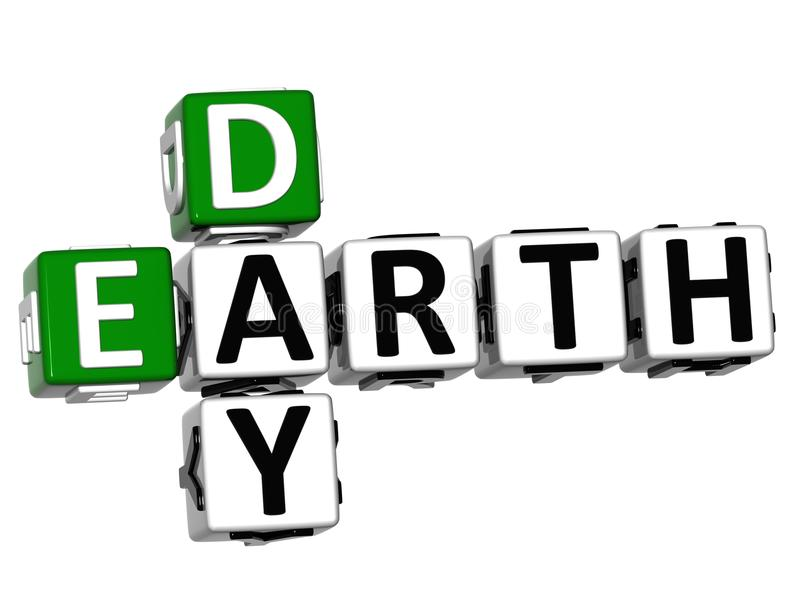 3D Earth Day text Crossword royalty free stock photography