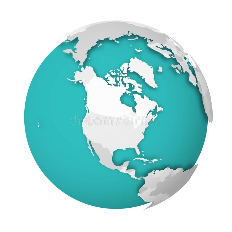 3D Earth globe with blank political map dropping shadow on blue green seas and oceans. Vector illustration. 3D Earth globe with blank political map dropping vector illustration