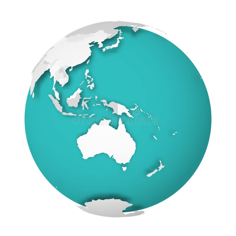 3D Earth globe with blank political map dropping shadow on blue green seas and oceans. Vector illustration. 3D Earth globe with blank political map dropping stock illustration
