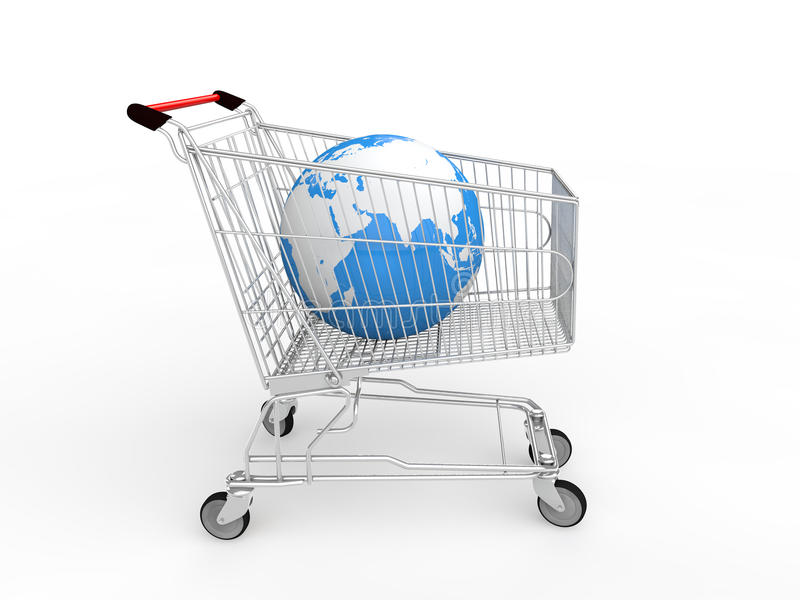 3d earth globe in shopping cart stock images